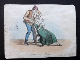 J. Royle (Pub) 1825 Hand Col Caricature. Taming the Shrew